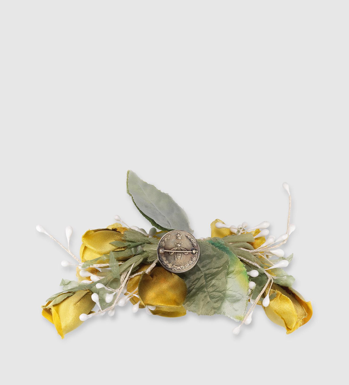 Gucci Brooches  Gucci Flower Brooch In Silk Lyst