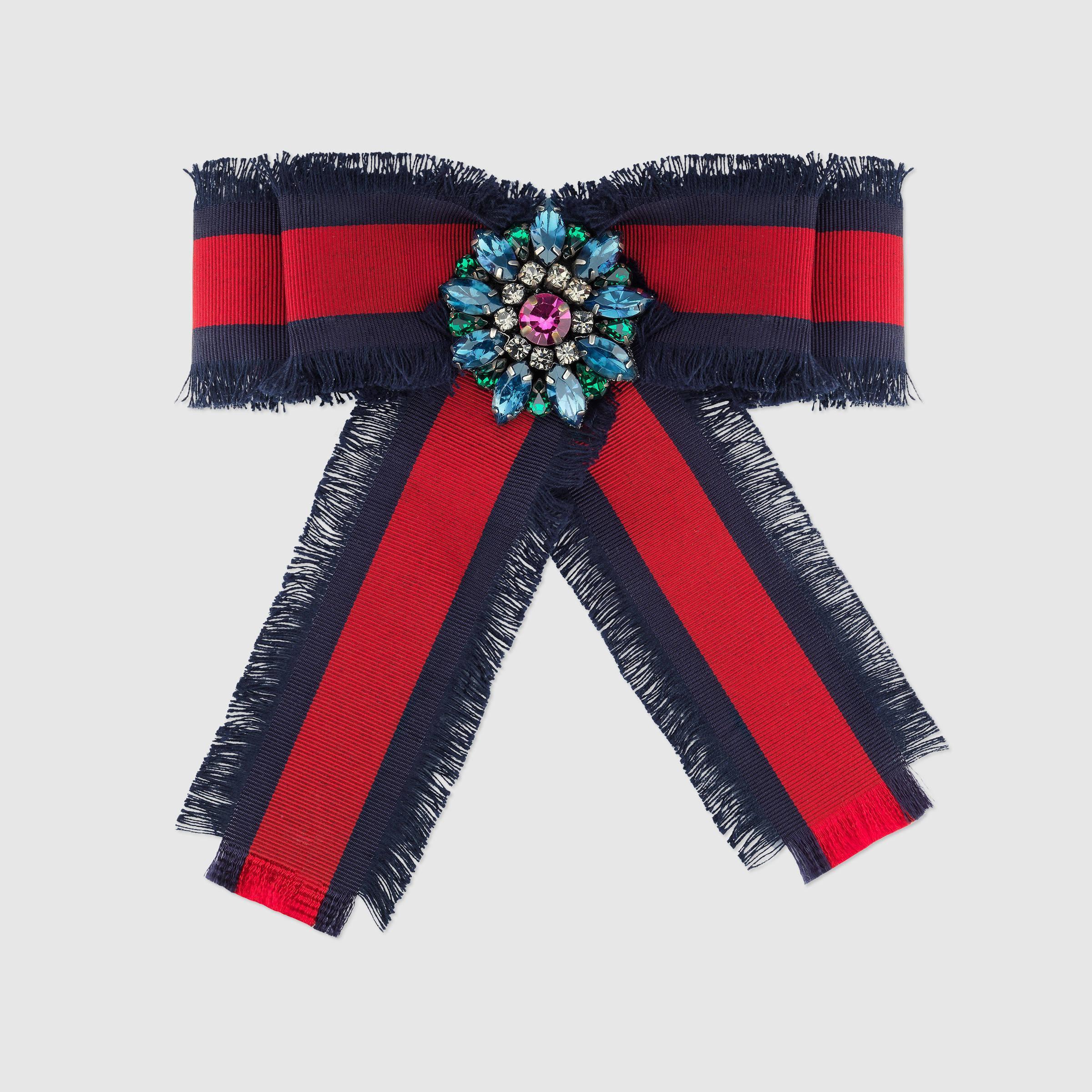 Gucci Brooches  Gucci Web Grosgrain Bow Brooch in Multicolor