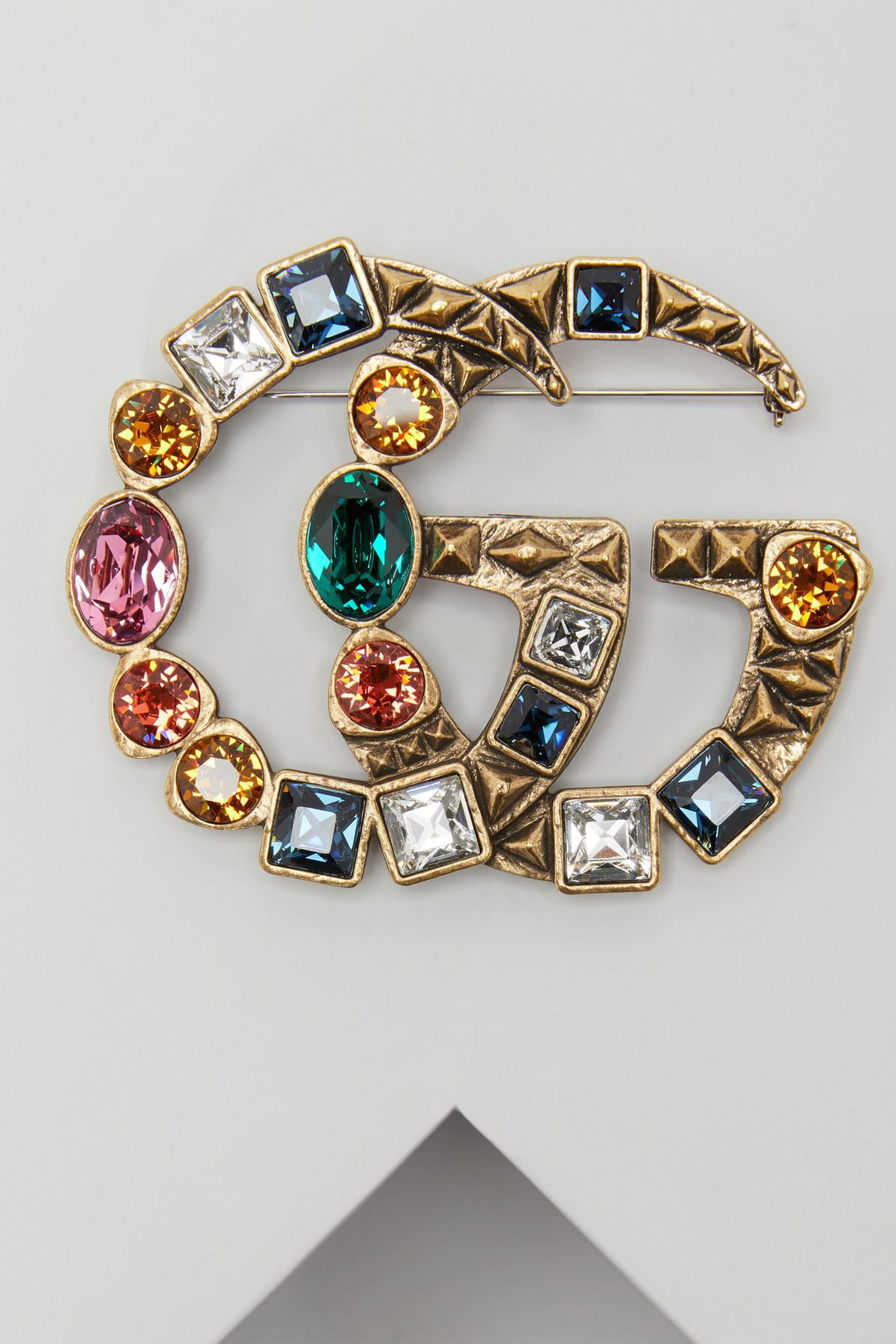 Gucci Brooches  Gucci GG Crystal Brooch in Metallic Lyst