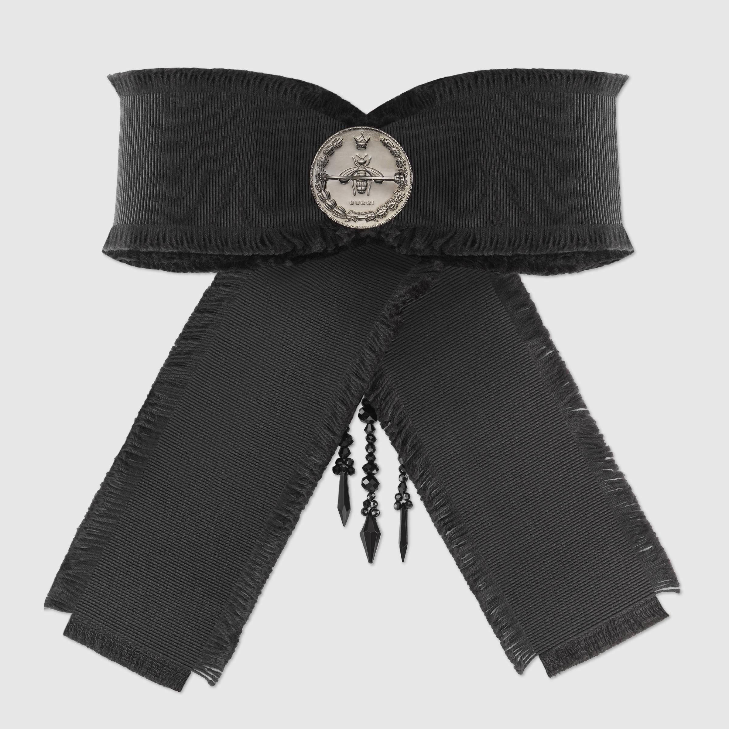 Gucci Brooches  Lyst Gucci Grosgrain Bow Brooch in Black