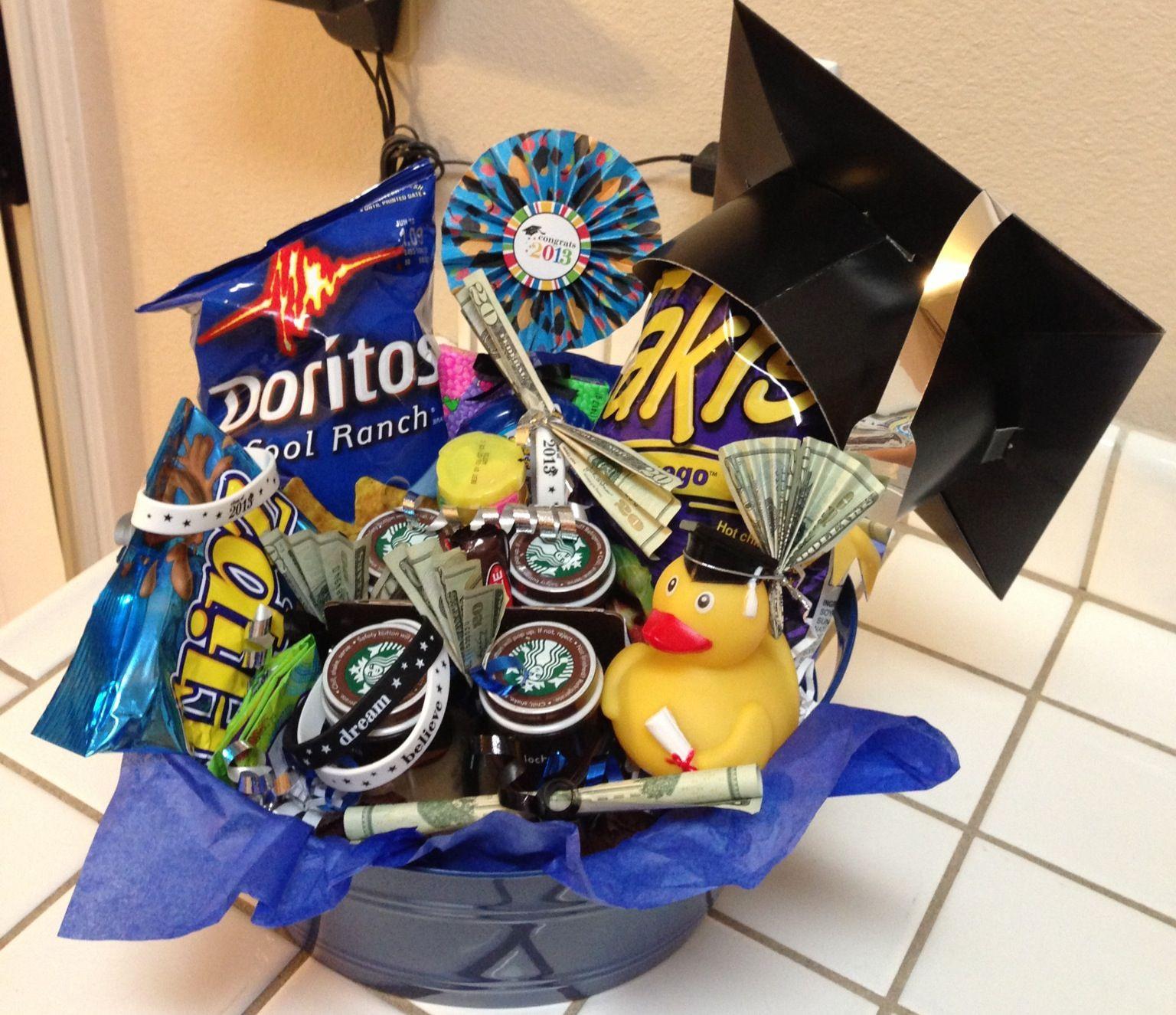 High School Graduation Gift Ideas For Guys  Graduation t basket for 8th grader