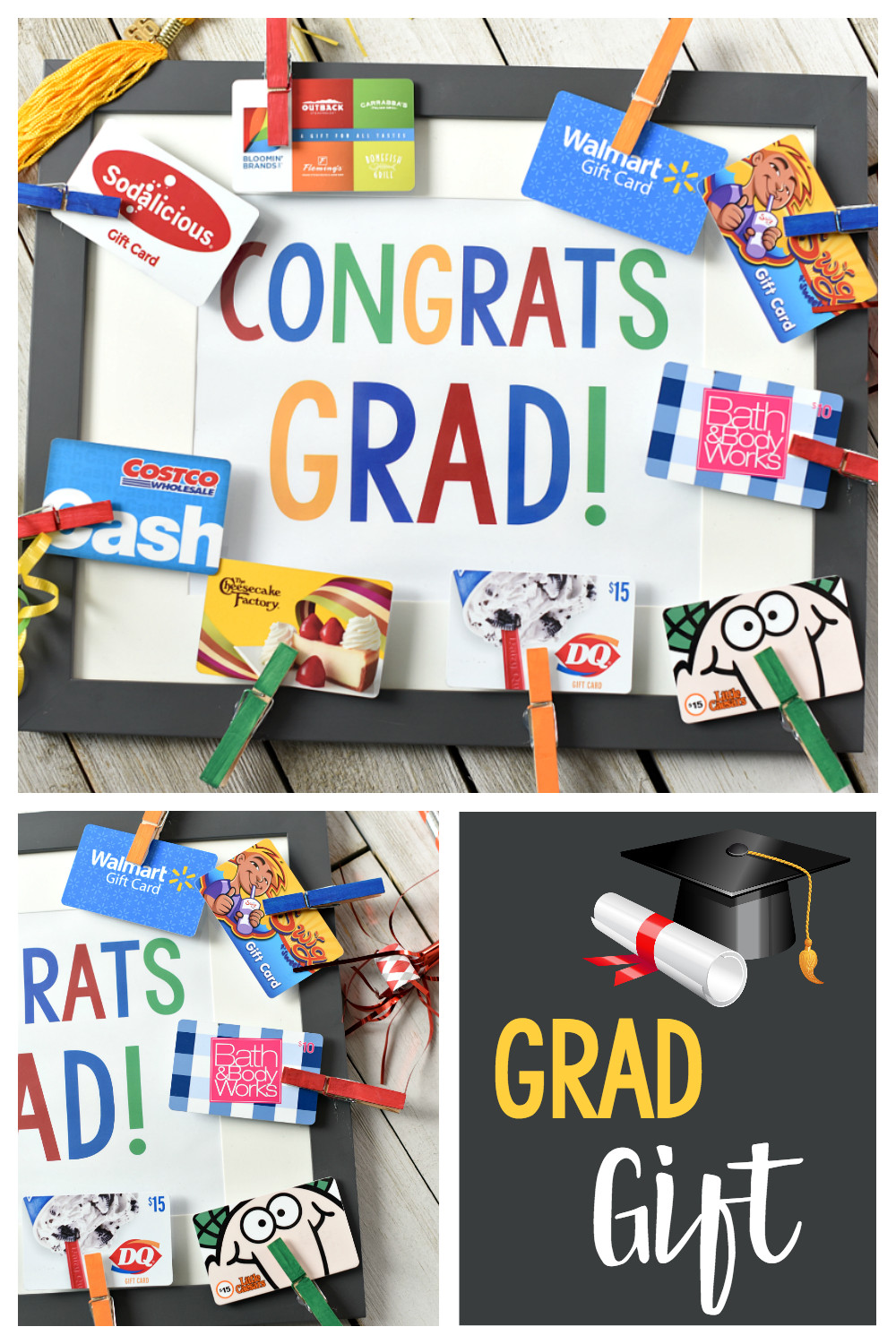 High School Graduation Gift Ideas For Her  Cute Graduation Gifts Congrats Grad Gift Card Frame – Fun