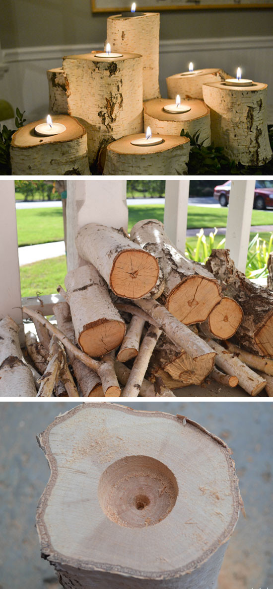 Home Craft Ideas For Adults  Tree Stump Candle Holders