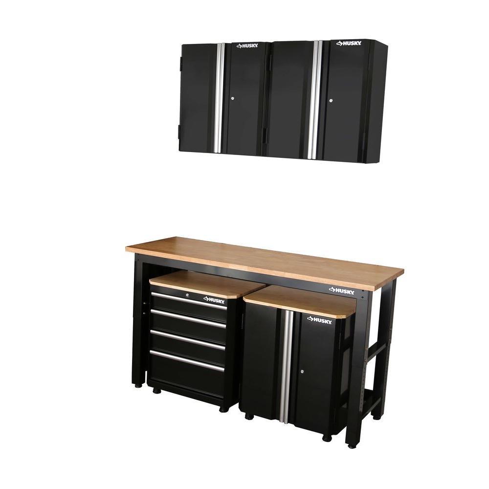 Home Depot Garage Organization  Husky 98 in H x 72 in W x 24 in D Steel Garage Cabinet