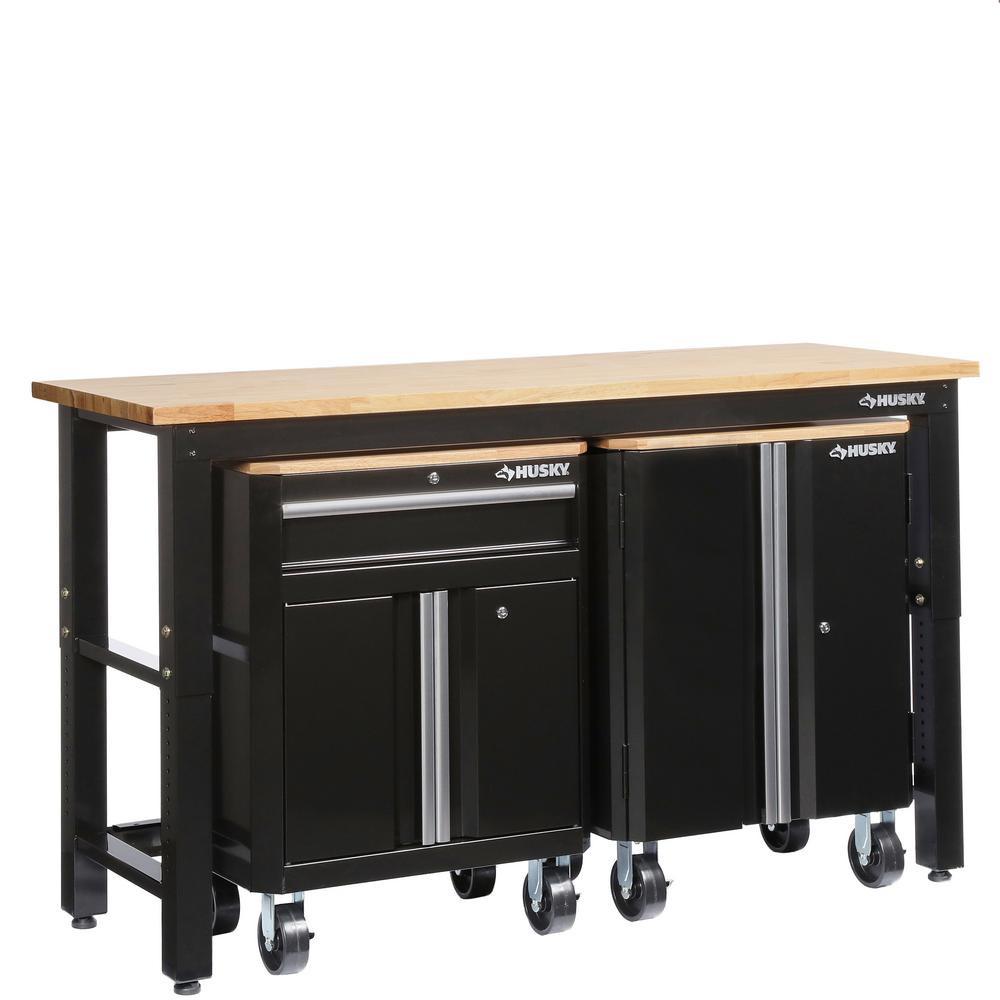 Home Depot Garage Organization  Husky 72 in W x 42 in H x 24 in D Steel Garage Cabinet