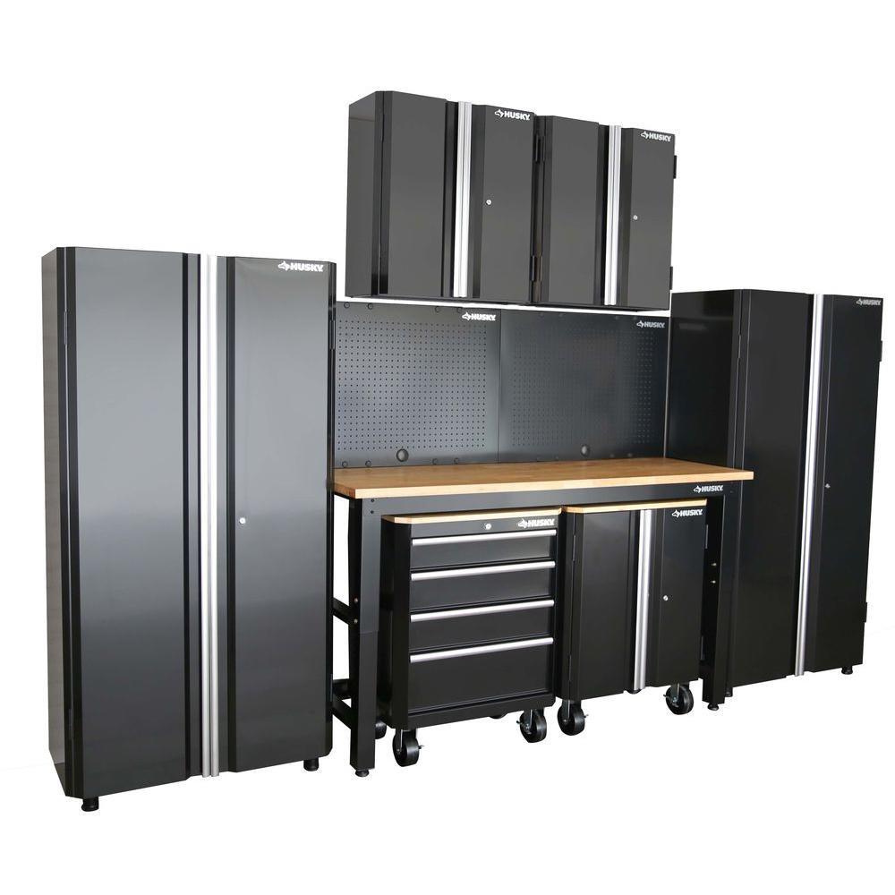 Home Depot Garage Organization  Husky 98 in H x 145 in W x 24 in D Steel Garage Cabinet
