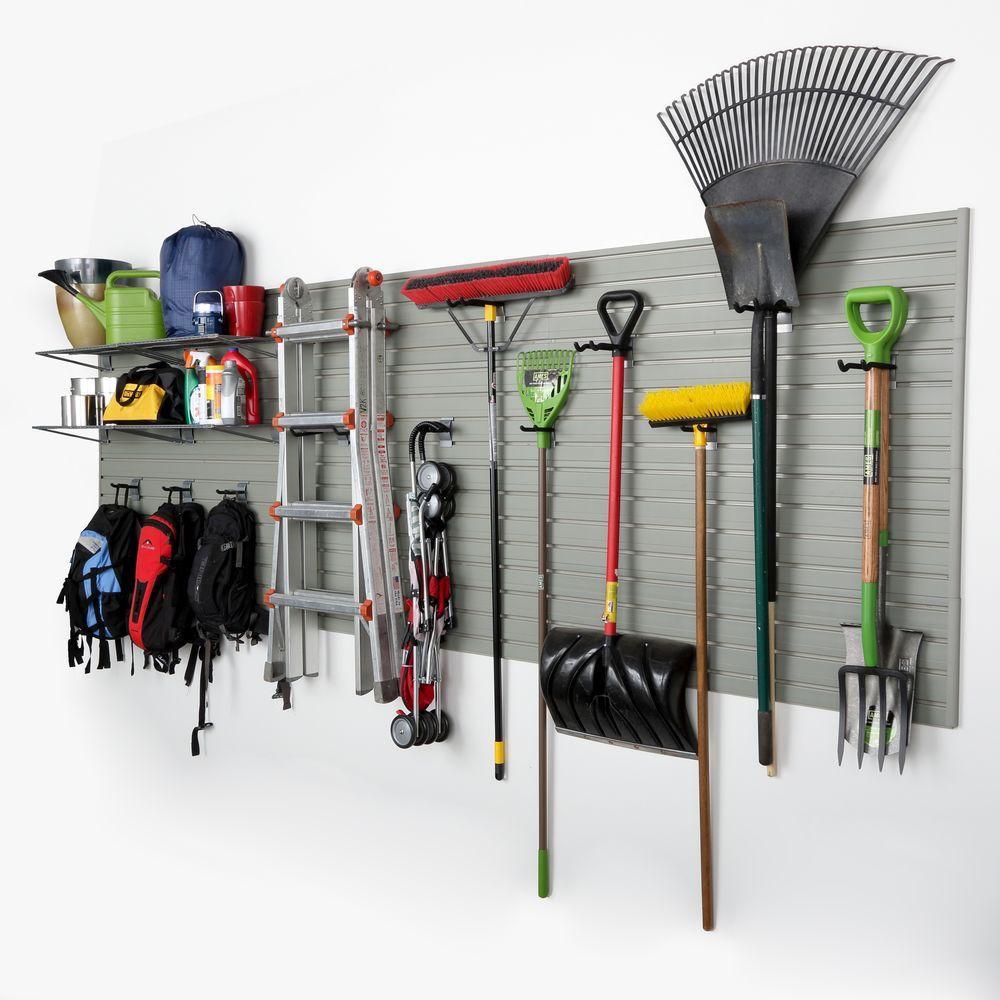 Home Depot Garage Organization  Flow Wall Modular Garage Wall Panel Storage Set with