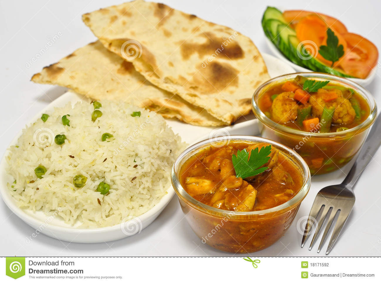 Indian Main Dishes  Indian Meal With Chicken Curry Stock graphy Image