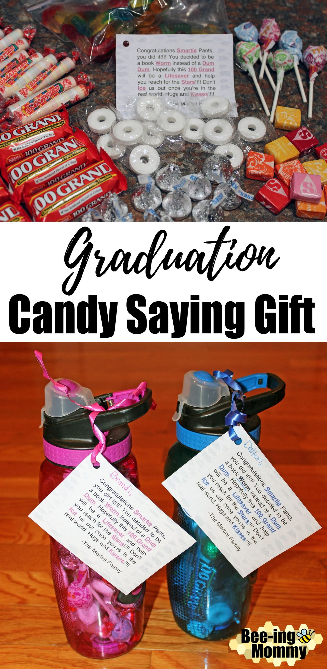 Inexpensive Graduation Gift Ideas  Graduation Candy Saying Water Bottle Gift