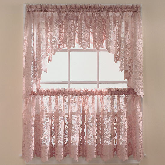Jcpenney Curtains Kitchen  JCPenney Home™ Shari Lace Rod Pocket Shaped Valance JCPenney