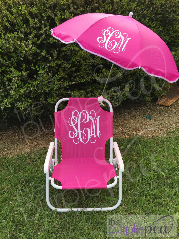 Kids Beach Chair With Umbrella  Monogrammed Kid s Beach Chair w umbrella