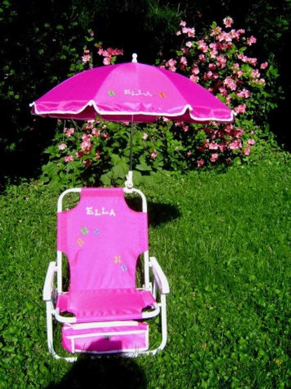 Kids Beach Chair With Umbrella  Personalized beach chair & umbrella for kids by dmzdesigns