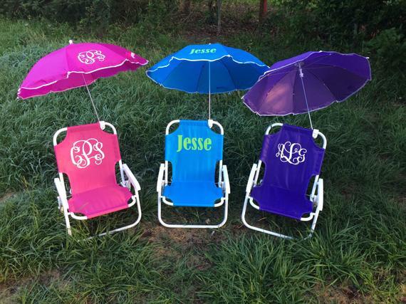 Kids Beach Chair With Umbrella  Items similar to Monogrammed Kids beach chair with