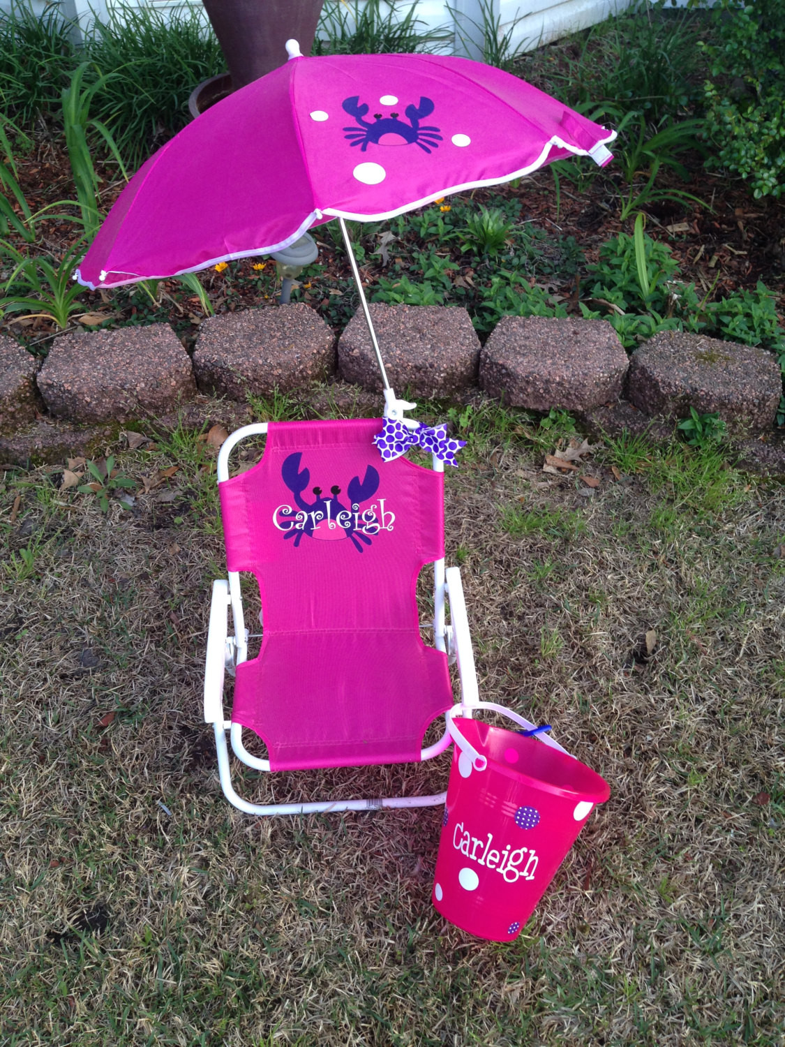 Kids Beach Chair With Umbrella  Personalized Kids Beach Chair With Umbrella and Matching