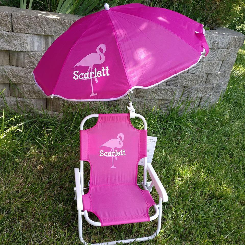 Kids Beach Chair With Umbrella  Toddler Kids Childrens Beach Chair and Umbrella Monogrammed