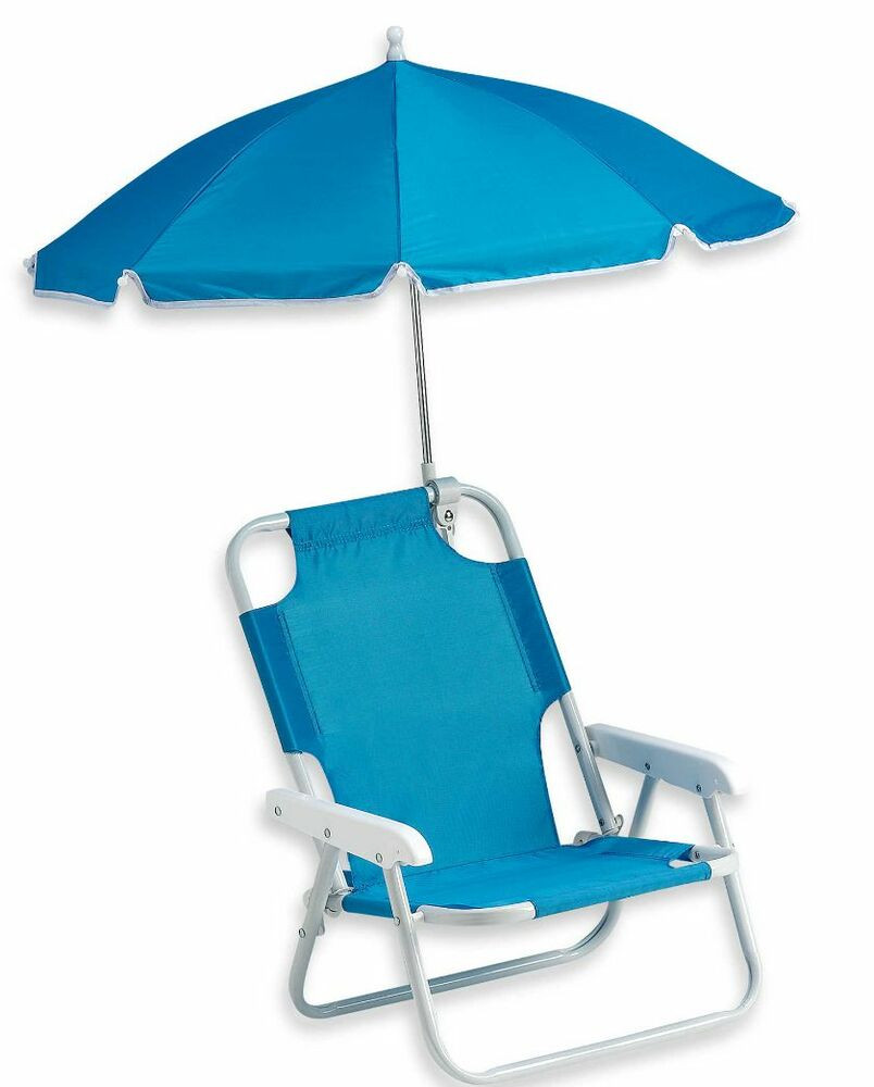 Kids Beach Chair With Umbrella  Blue Baby Beach Chair & Umbrella Outdoor Kids Shade New