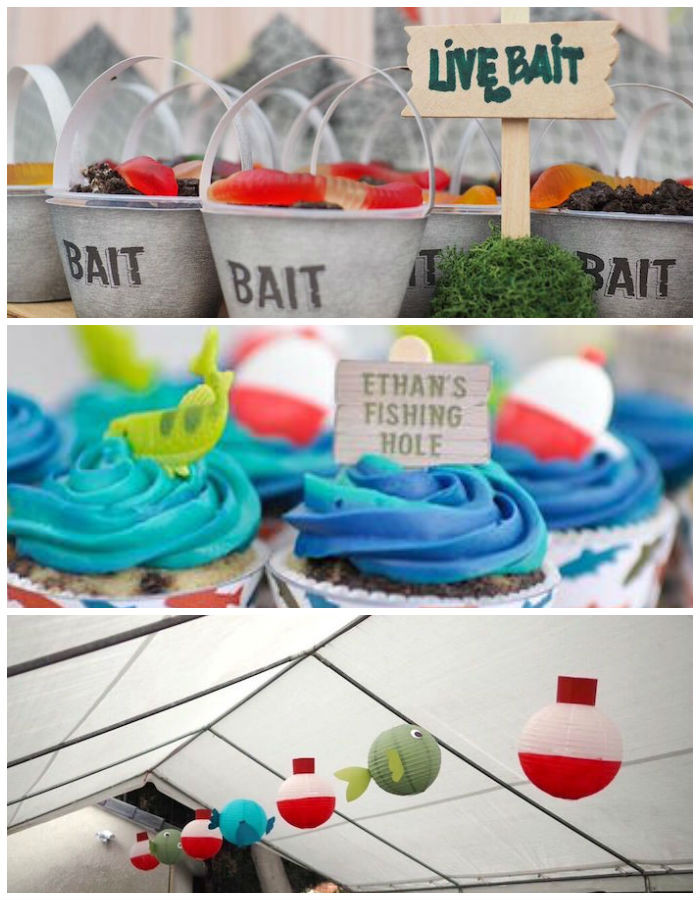 Kids Fish Birthday Party  Kara s Party Ideas Colorful Gone Fishing Birthday Party