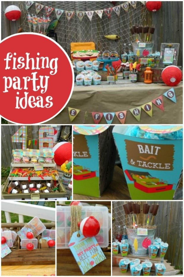 Kids Fish Birthday Party  Vintage Gone Fishing Boy s Birthday Party Spaceships and