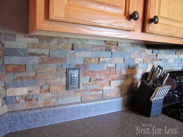Kitchen Backsplash Outlets  Stone Kitchen Backsplash How to Nest for Less™