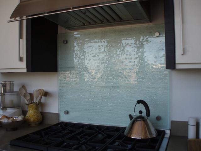 Kitchen Stove Wall Protector  Fusion Glass Backsplash Brooks Custom Contemporary