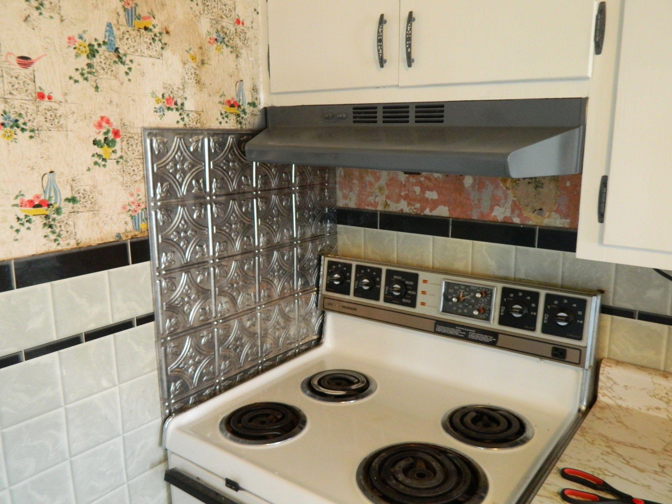 Kitchen Stove Wall Protector  DIY 5 Steps to Kitchen Backsplash – No Grout Involved