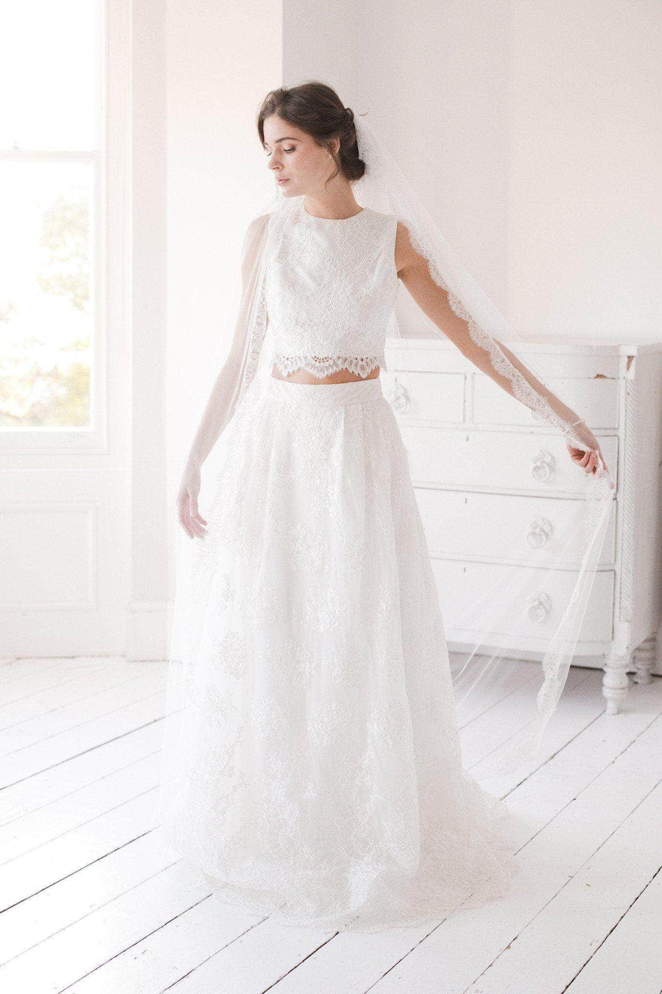 Lace Trim Wedding Veil  Silk style wedding veil with french eyelash lace trim
