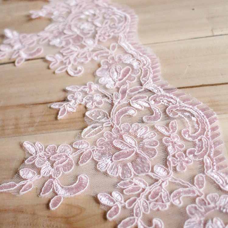 Lace Trim Wedding Veil  15CM high quality scalloped ganza PINK lace trim wedding