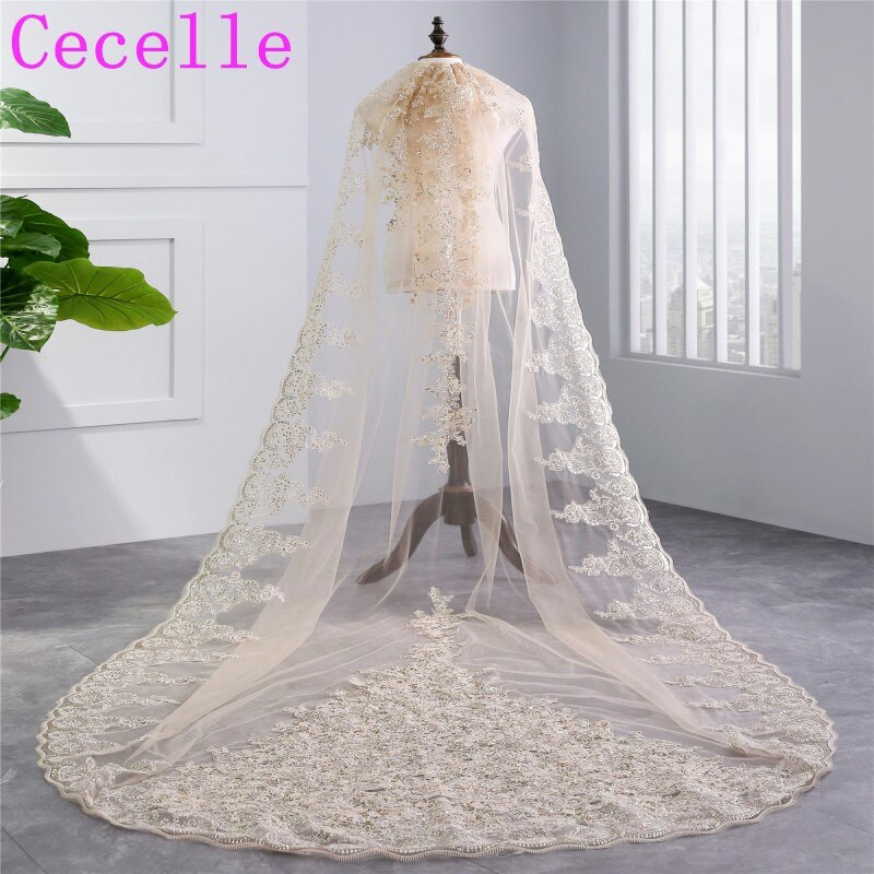 Lace Trim Wedding Veil  2019 New Real Champagne Long Cathedral Bridal Veil 1
