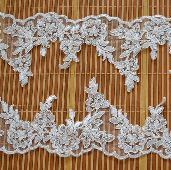 Lace Trim Wedding Veil  ivory alencon lace trimwedding veil lace trim bridal veil