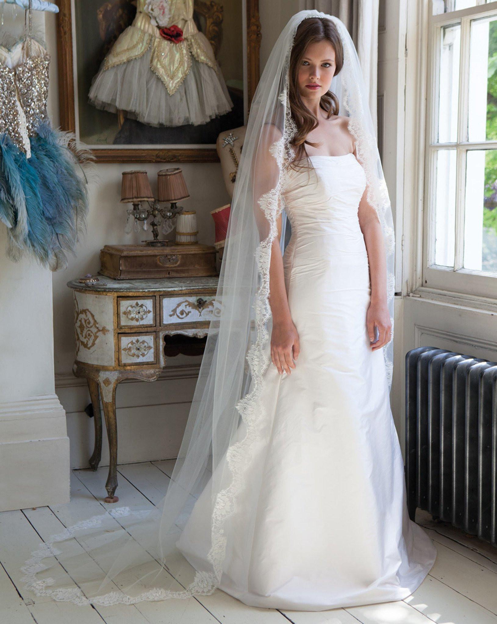 Lace Trim Wedding Veil  Veil train length with chantilly lace trim Spellbinder