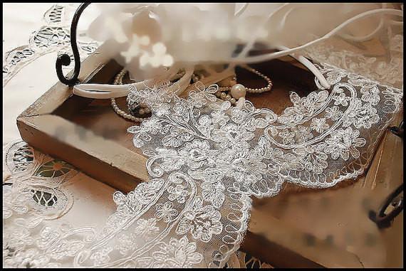 Lace Trim Wedding Veil  Ivory Alencon Lace Trim Wedding Veil Bridal Veil Lace Trim