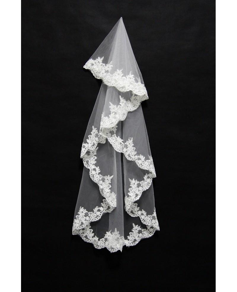 Lace Trim Wedding Veil  Short White Tulle Wedding Veil with Lace Trim BV039