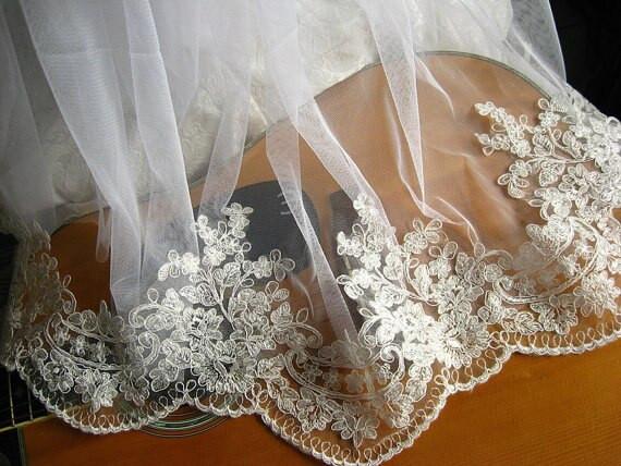 Lace Trim Wedding Veil  Alencon Lace Trim Bridal Veil Lace Trim Wedding Dress