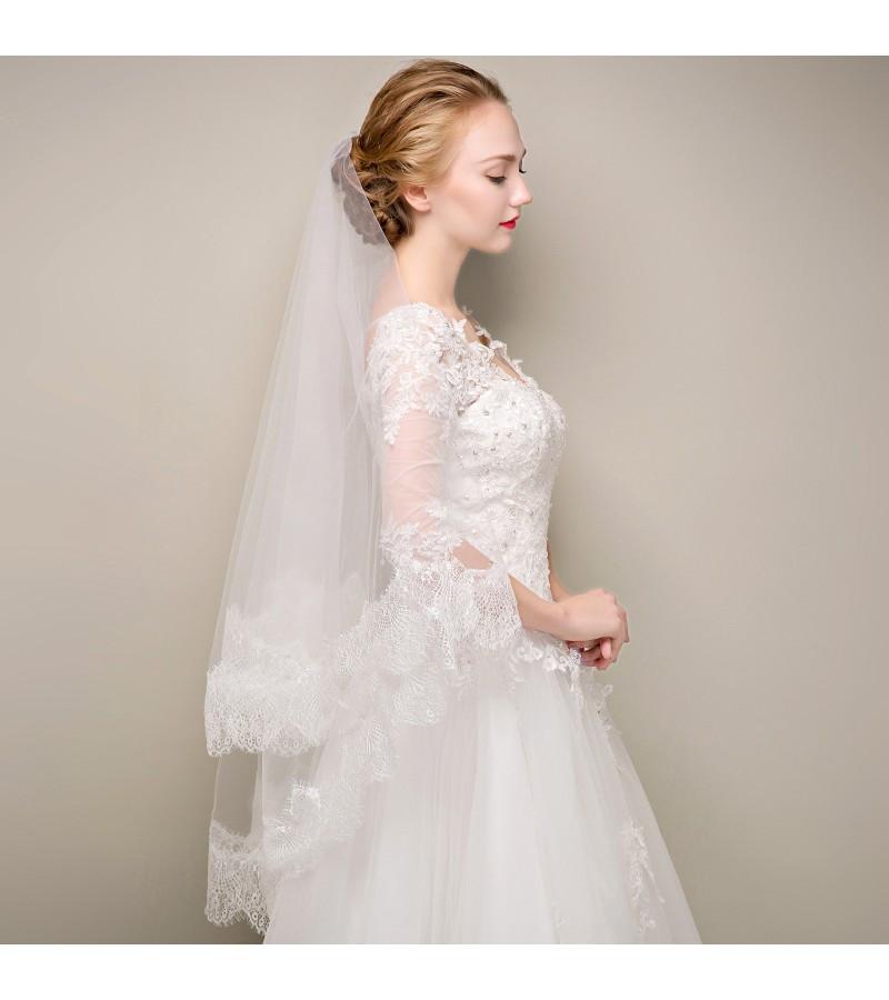 Lace Trim Wedding Veil  Classic Lace Trim White Tulle Ballet Length Bridal Veil
