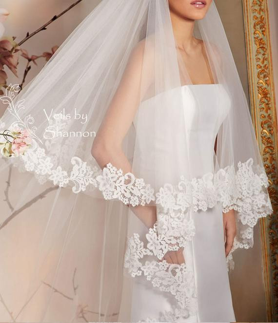 Lace Trim Wedding Veil  2 Tiers Cathedral Lace Trim Wedding Veil With by Shannonveils