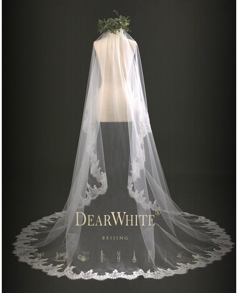 Lace Trim Wedding Veil  Bamboo of Cloud Designer Vintage Lace Trim Bridal Wedding