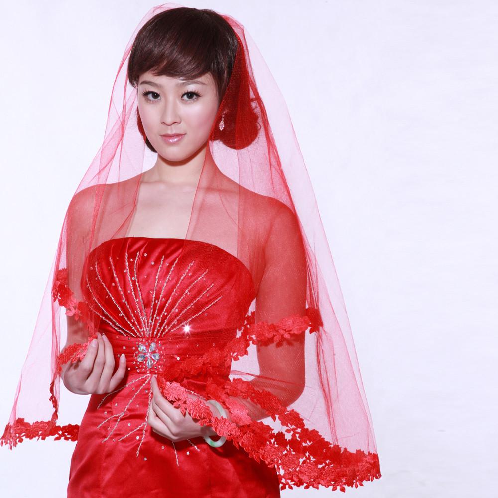 Lace Trim Wedding Veil  Modern Lace trim Red Gauze Wedding Veil Wedding Veils
