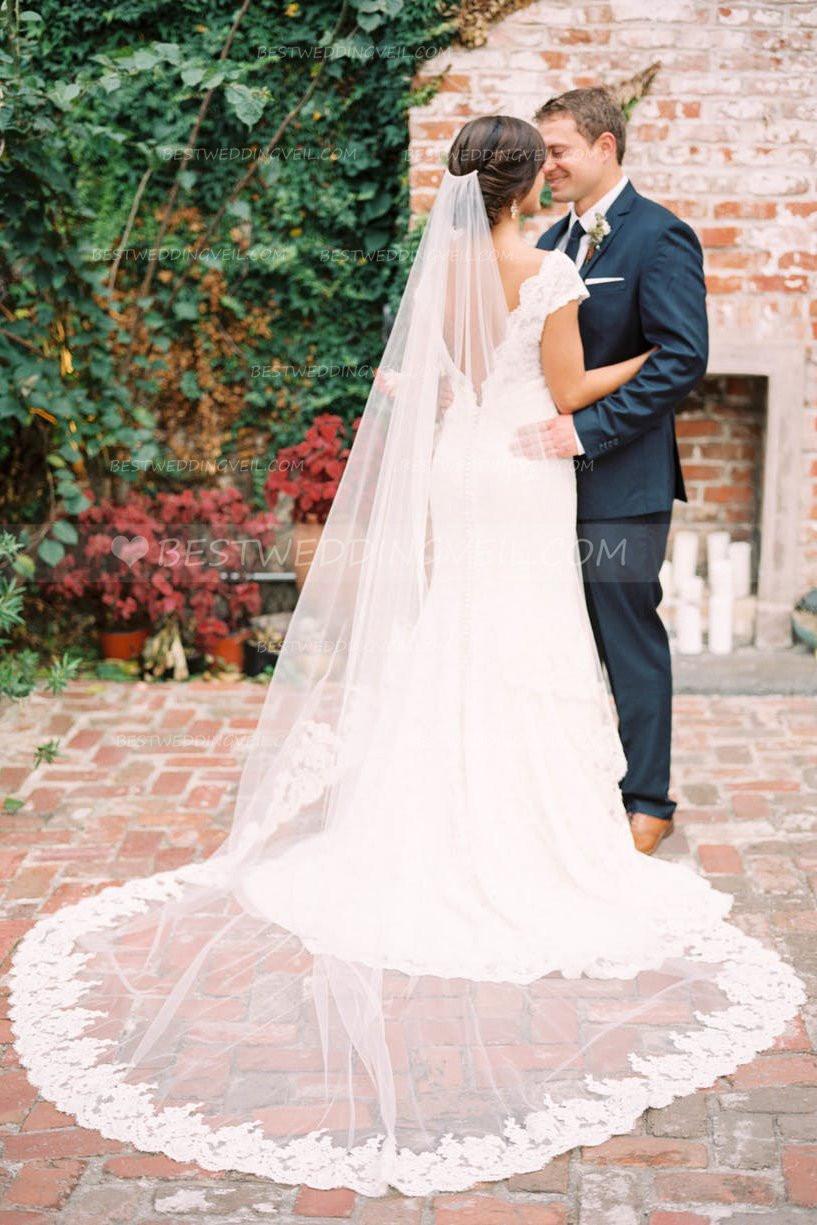 Lace Trim Wedding Veil  1 Layer Tulle Partial Lace Trim Ivory Bridal Veil Wedding
