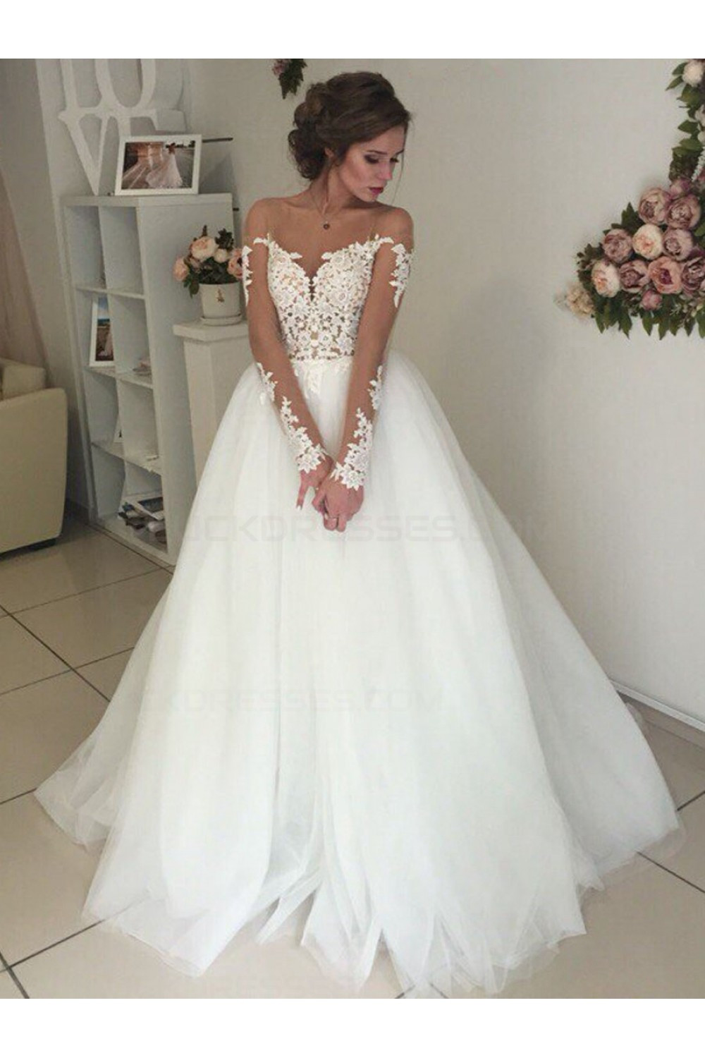 Lace Wedding Gowns  Long Sleeves Lace Illusion Neckline Wedding Dresses Bridal