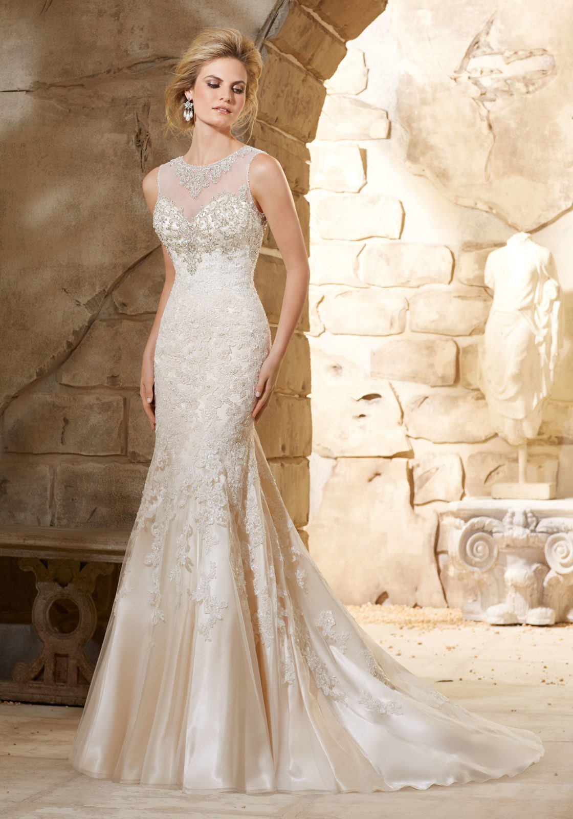 Lace Wedding Gowns  Beaded Bodice on Lace over Soft Satin Bridal Gown