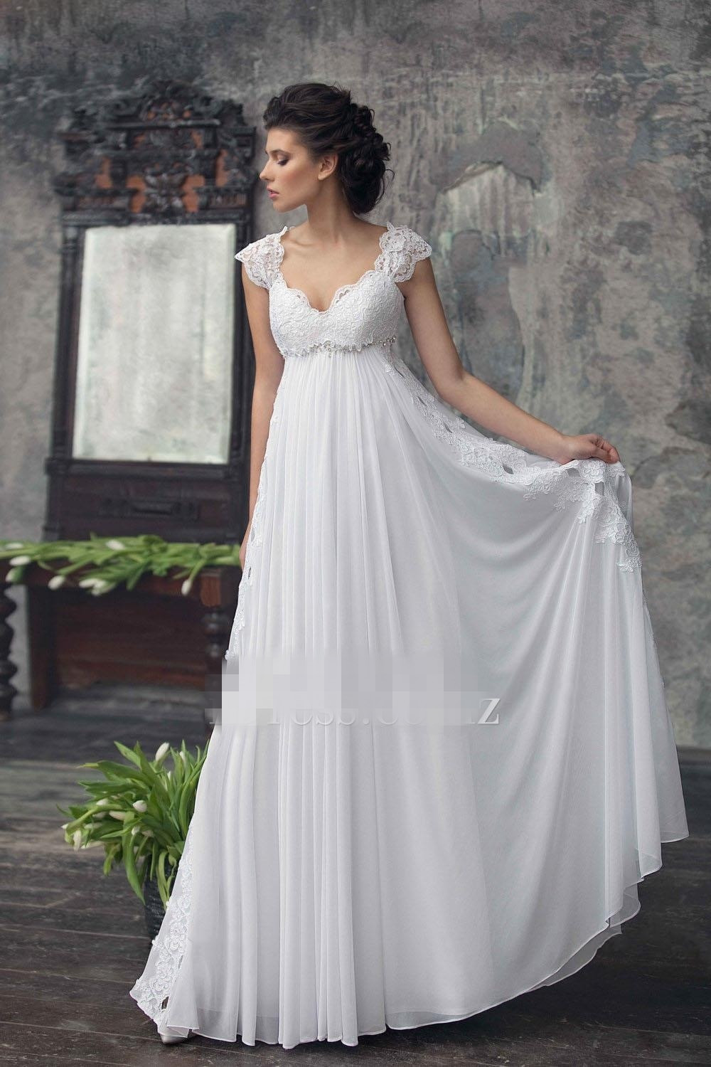 Lace Wedding Gowns  2017 Empire Maternity Wedding Dresses Beaded Lace Chiffon