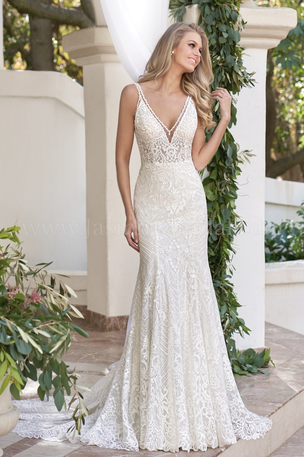 Lace Wedding Gowns  T Illusion Bodice V neck Embroidered Lace & Sequin