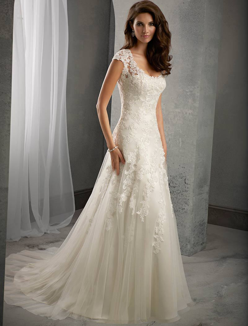 Lace Wedding Gowns  Ivory Lace Cap Sleeves Court Train Wedding Mermaid Dress