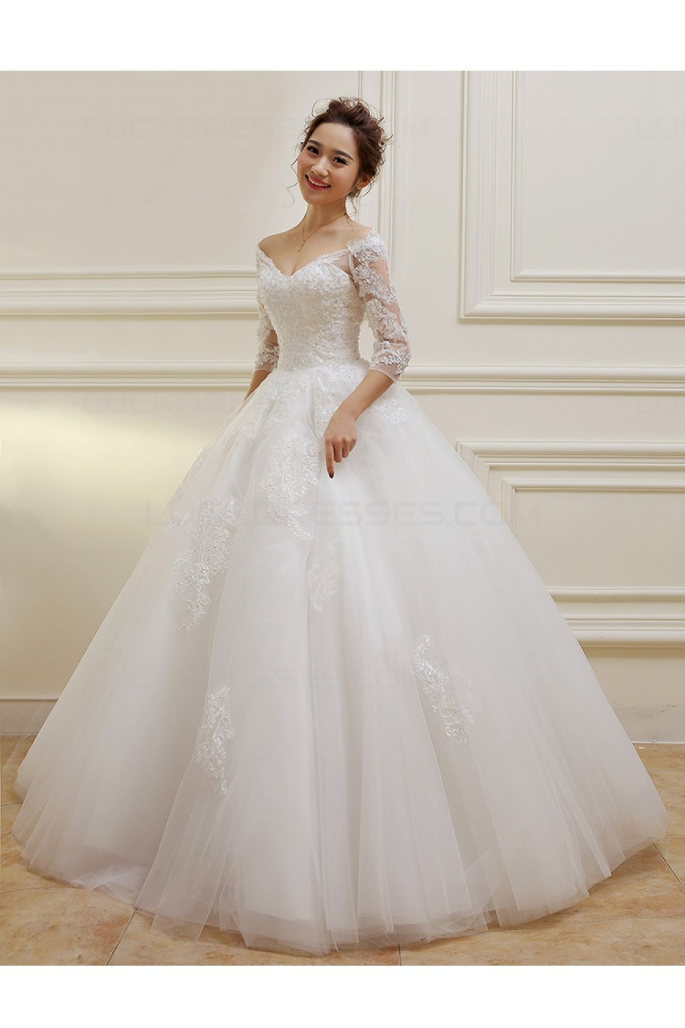 Lace Wedding Gowns  3 4 Length Sleeves V Neck Lace Wedding Dresses Bridal