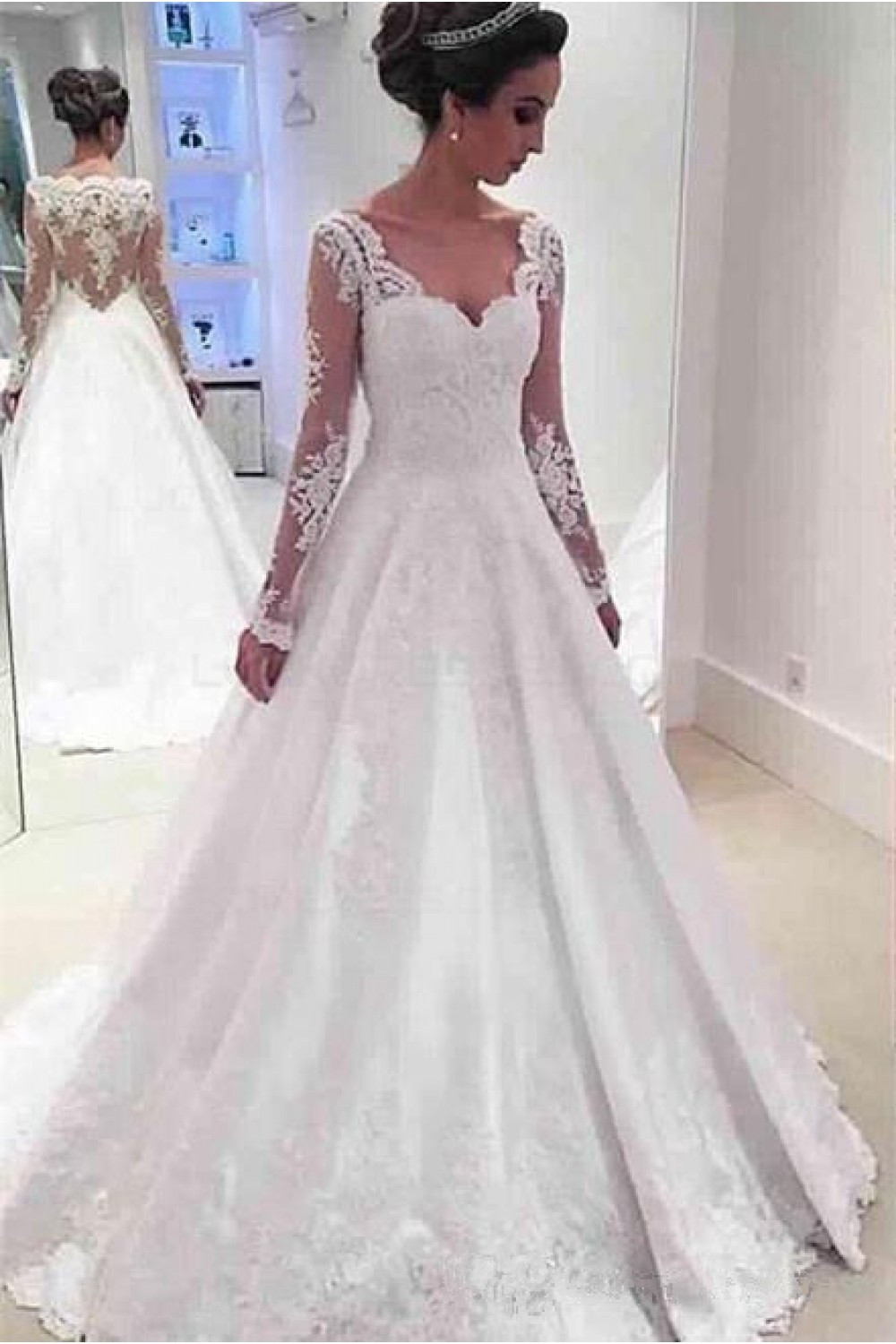 Lace Wedding Gowns  A Line Long Sleeves Lace Wedding Dresses Bridal Gowns