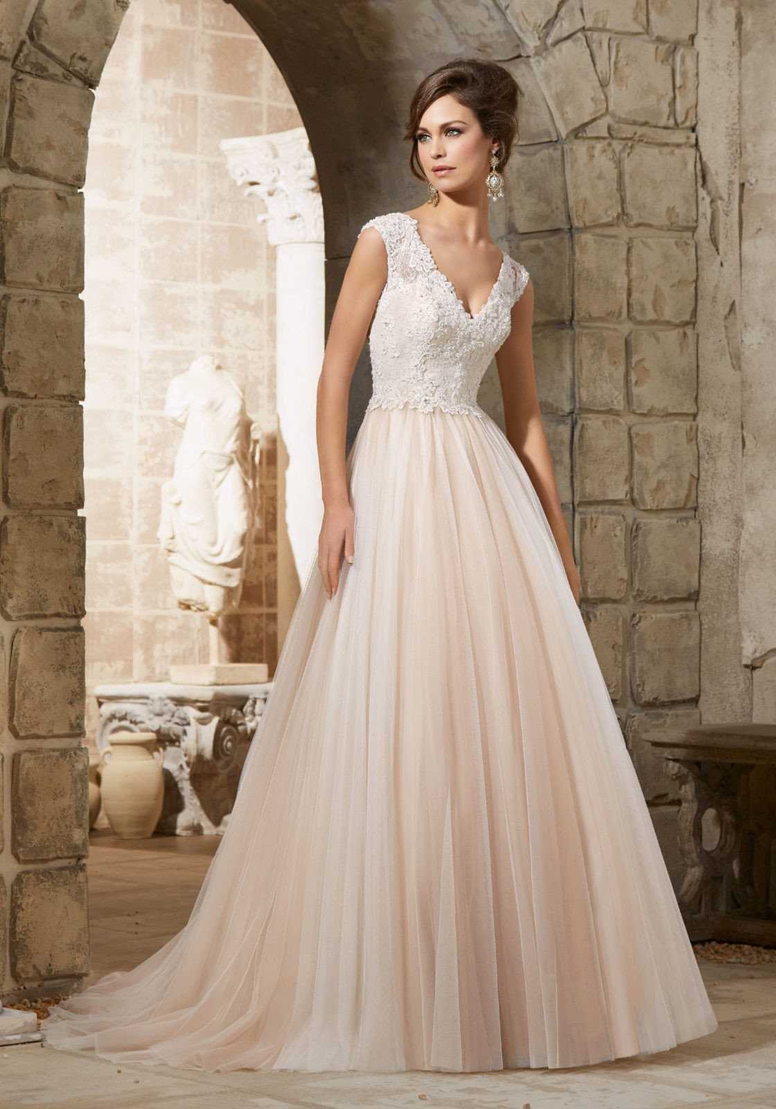 Lace Wedding Gowns  Embroidered Lace Appliqués with Crystal Beading over
