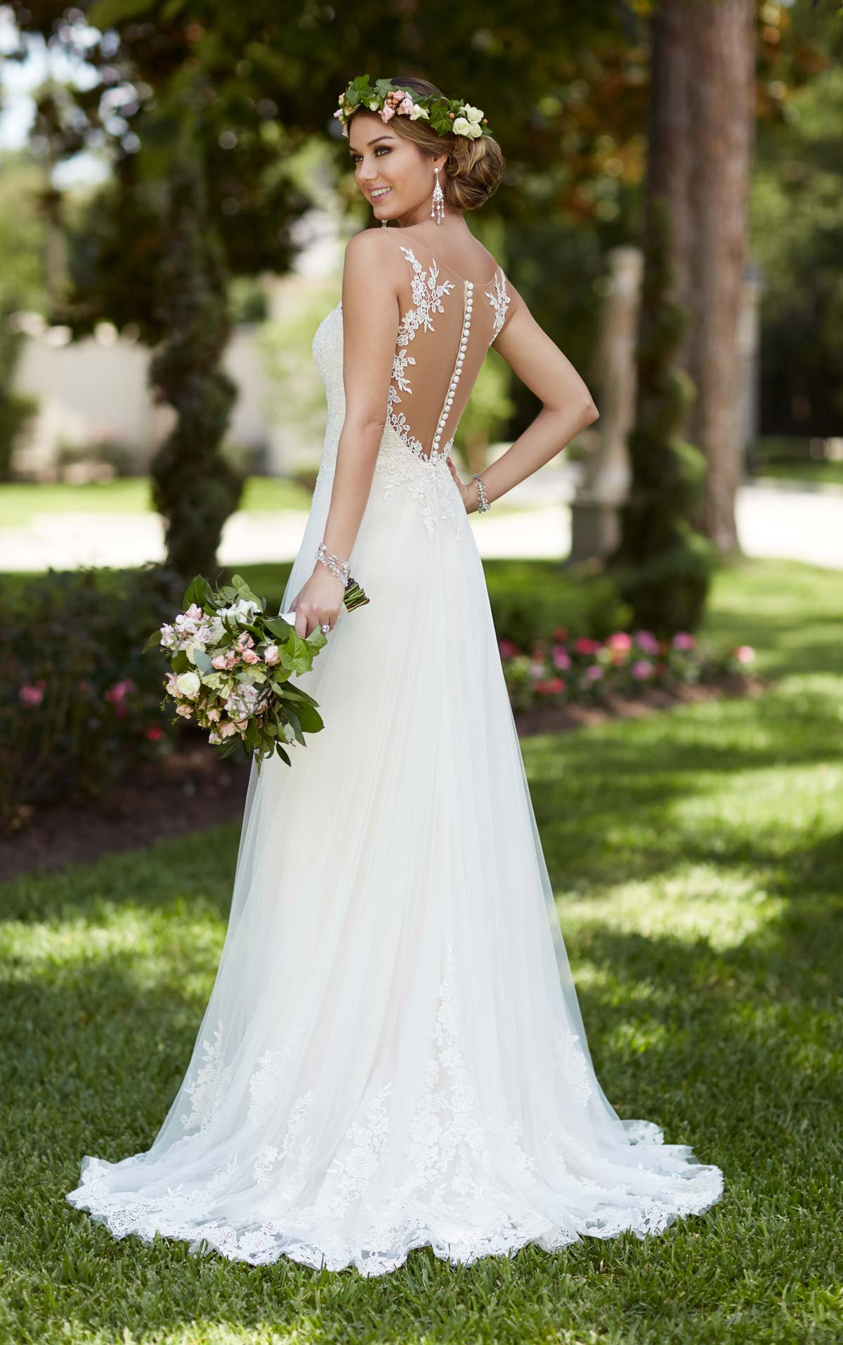 Lace Wedding Gowns  Illusion Lace French Tulle Wedding Dress