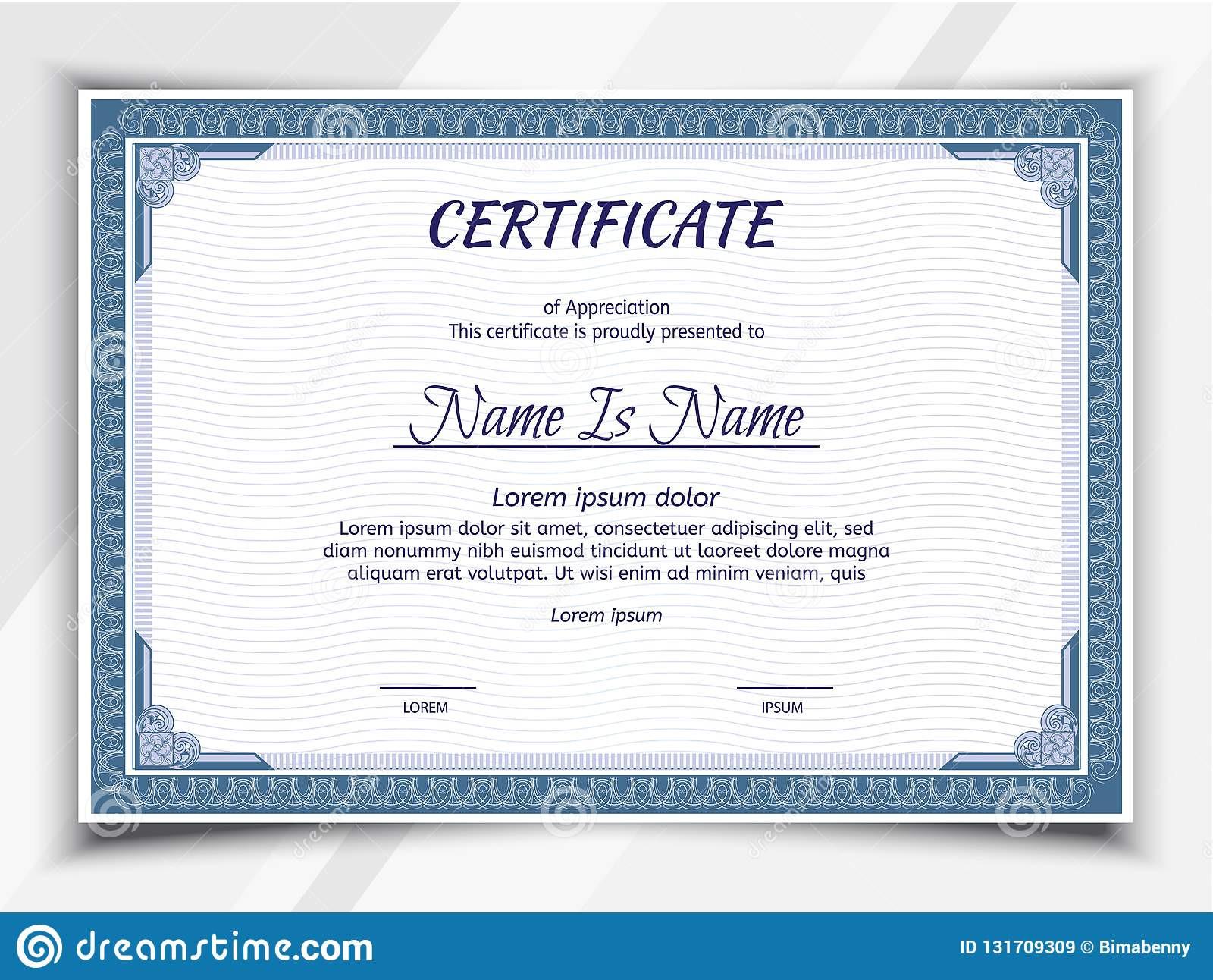 Landscape Design Certification  Certificate Landscape Template Stock Vector Illustration