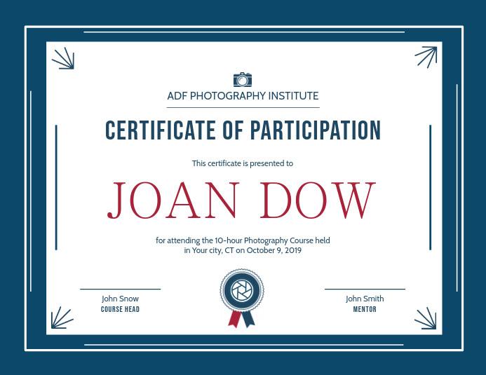 Landscape Design Certification  Plantilla de Certificado de Participación Paisaje