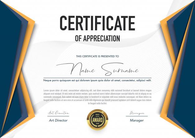 Landscape Design Certification  Certificate template Vector